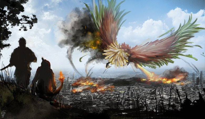 Civil War Pokemon. .. ho-oh is not that big..but other than that.........EPIC!!!!