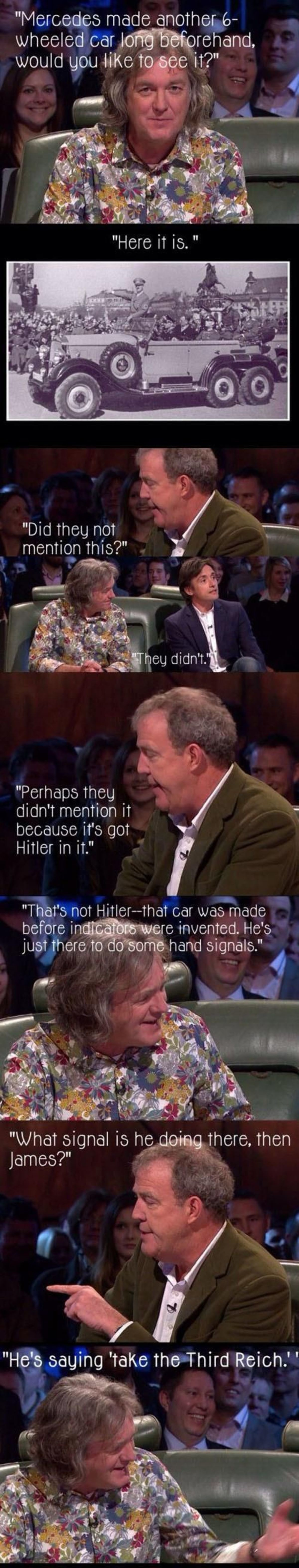 "clarkson and . . Mercedes made another G- v/ heeled oar , Did they not mention this?"" Perhaps they didn' t mention it because it' s got Hitler in it."" That' s n"