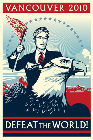 Colbert Olympic Poster. Defeat the World!. VANCOUVER 2010 ll WORLD!
