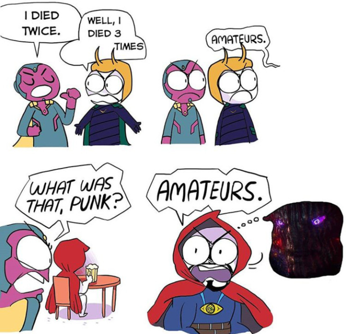 "Comic Death. .. Doc strange literally used ""quicksaving..."" on that . Love that movie."