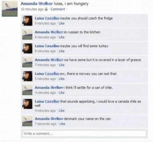 country puns. thumbs up for puns.. How can she russian to the kitchen? How did she get out?
