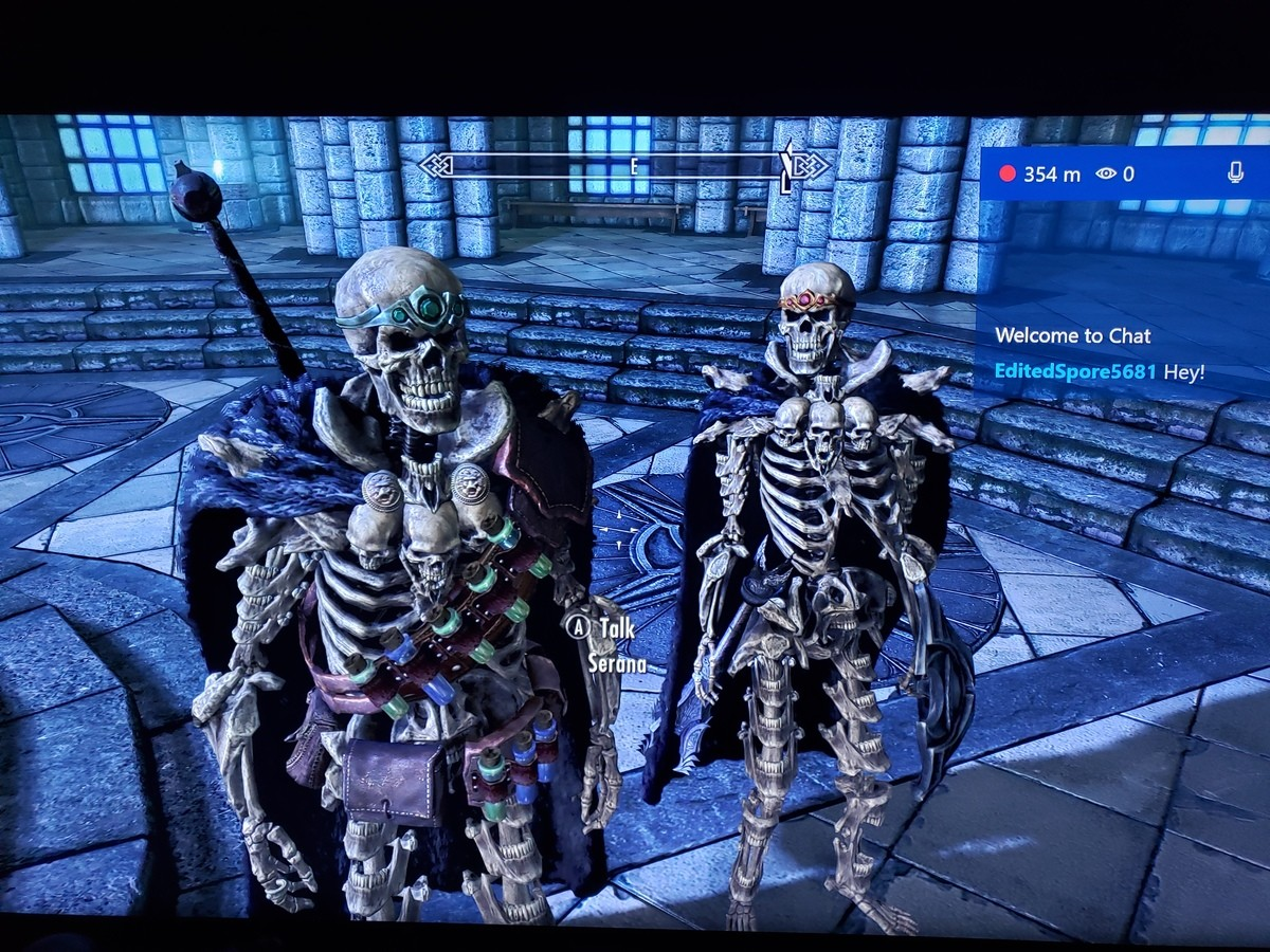 Couple of Boners. Serana and I getting our spook on as a couple of Elder Lich boners. [Sadly the skeleton demon armor mod is light armor so I have to respec hea
