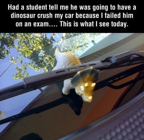 creative student. not oc. sorry if re-post. Hana student tell me he was going to have a dinasaur crush my Mt because I failed him an an exam.... This is what I