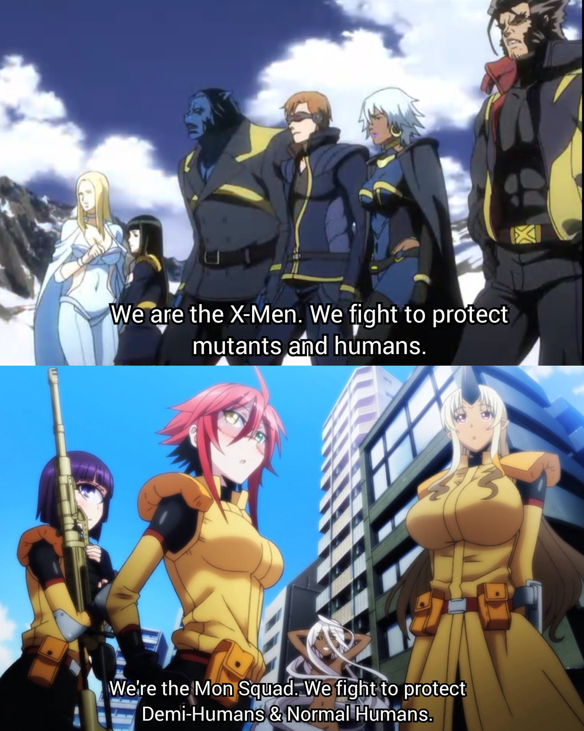 Crossover When?!. Mon Squad is basically the X-Force. Plus the world of MonMusu is basically Sensei Okayado's X-Men Universe... bUT cAN yOU dO tHIS???