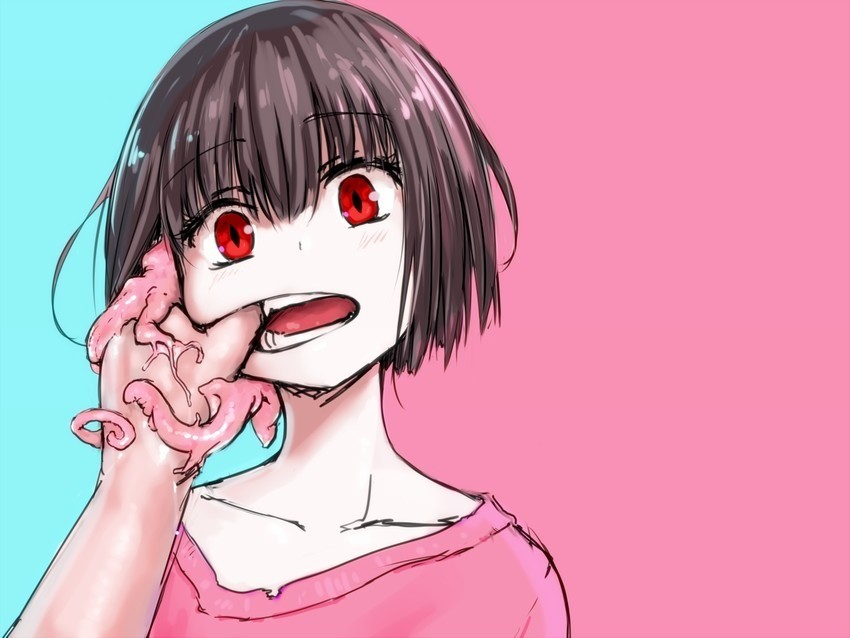 """Cute. In case you can't tell, the wtf is coming from the girl - illust.php?mode=medium&illustid=71843046.. """"Usually I'd murder you on sight and tear your corpse to pieces, but I'm enjoying this! Please continue!"""""""