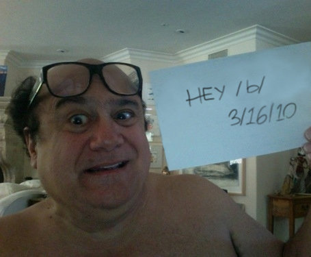"""Danny DeVito on 4chan.. Thumbs it up... This has been photoshopped for eternity. The original said """"Show devito your tits"""""""