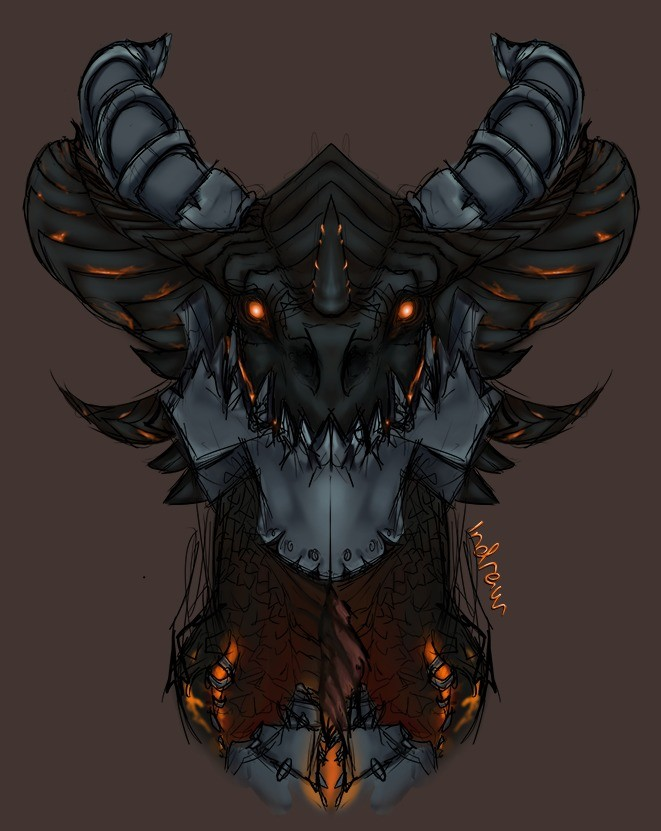 Deathwing doodle. 0% procastination went on when drawing this. Nope, none at all. I'll probably fiddle some more with this some time later when I have time. Rum