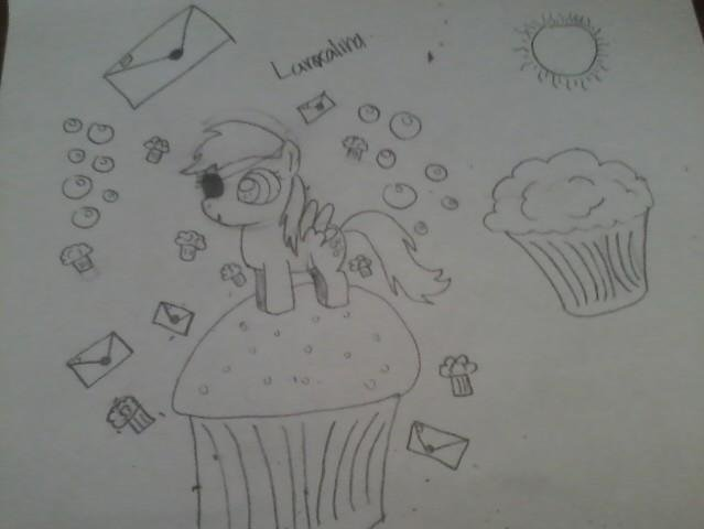 Derpy Drawing :D. Yess She Is Wearing an Eye patch I Just Got Bored And Added it. But Yeah.. Sorry the lines on the muffin bottoms are all weird I Rushed Threw