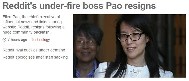 Ding Dong. The witch is dead. . Reddit' s underwhere boss Pao resigns Ellen Pao. the chief executive of influential news and links sharing website Remit- resign