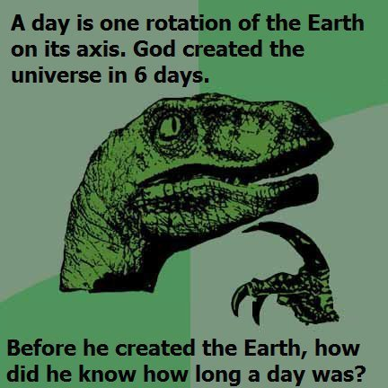 Dino Logic. ftw. A day is one rotation of the Earth an its axis. God created the universe in 6 days. Before he created the Earth, how did he know how long a day