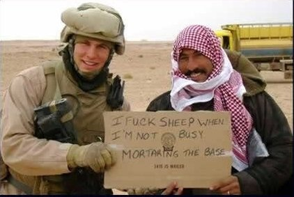 Doesn't speak English. Sheep everywhere.. Shame on you. If the muslim could read that message, he'd probably tell you to stop screwing his goats.