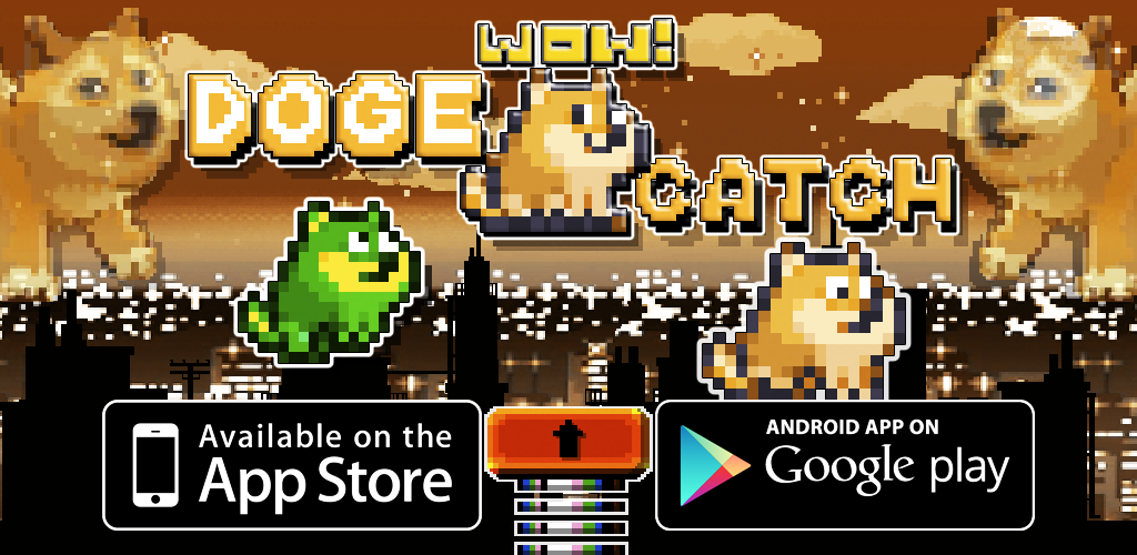 Doge Catch, Such Game, Much Skillz, Wow!. The goal is to catch and bounce as many doges as you can in order to reach the right platform so they don't die, wow.