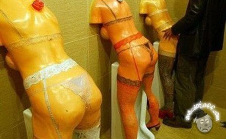 """Doggy Style Urinals. .. Wow, someone has a really up imagination, captcha """"strap"""" lmao"""