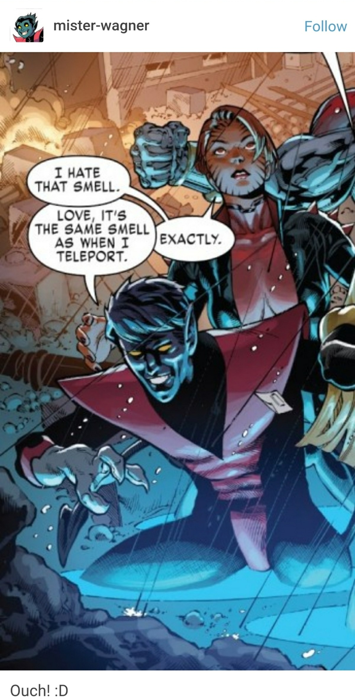 Don't bully the blue demon. . LOVE, IT' S THE SAME SMELL WHEN I l TELEPORTS.. Brimstone, right?