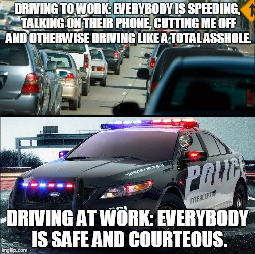 Driving to work vs driving at work. Drive a black & white for long enough and you start dreading having to drive through traffic in your POV.. iea- Is. Sounds about right. Everything's all nice and orderly until the police are out of sight.