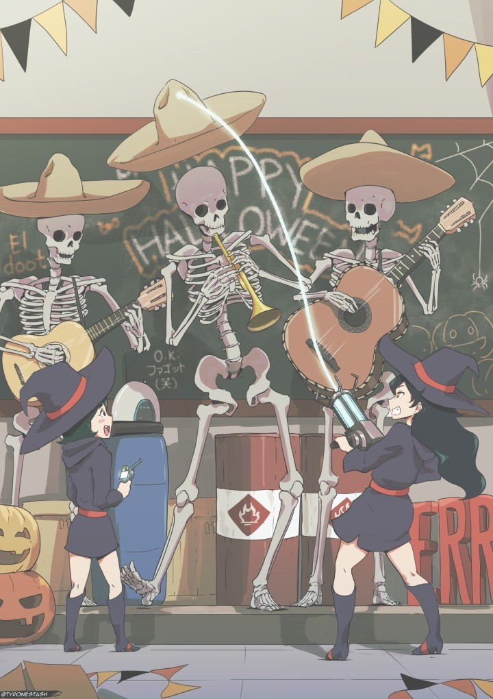 El doot. .. Now I'm just really confused at what Skeletons, Little Witch Academia, Mexicans, and a bunch of props from Valve games have in common with one another.