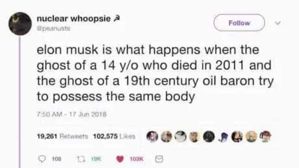 Elon Musk's origin story. .. This bitch doesnt know about the king of dudes. Id say once every couple of generations there a rich guy who just does silly because he knows he can, but he als