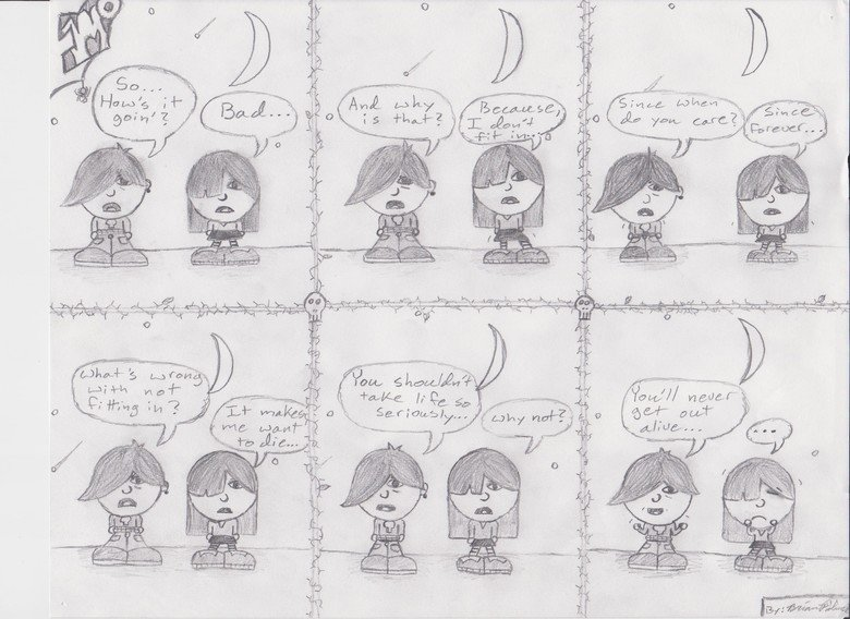 Emo. I was going through some of my banking records from when I was sixteen and came across a random comic I did back then.. figured why not post it..