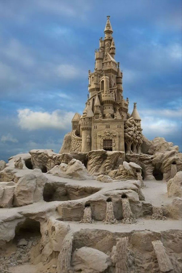 Epic Sandcastle. A true masterpiece.. I would love to run through that and ruin it.