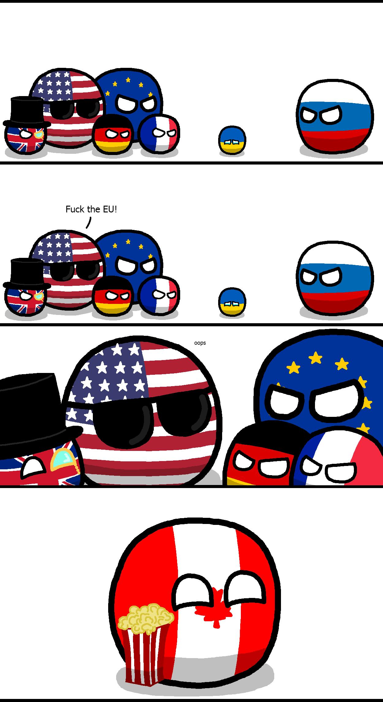"EU v. Russia in Ukraine. Not OC. Credit to ""koleye"" on polandball reddit."