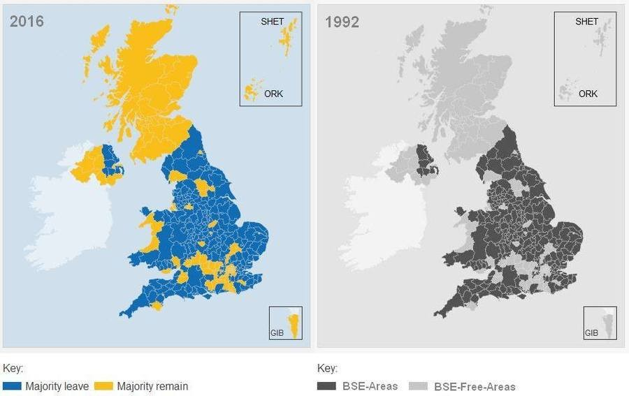EU vote count vs. Mad cow outbreak. EU Referendum Local Results 2016 vs. Mad Cow Disease Outbreak Areas 1992 It's a hoax but it's funny!. 2016 . SHET 1992 EHW O