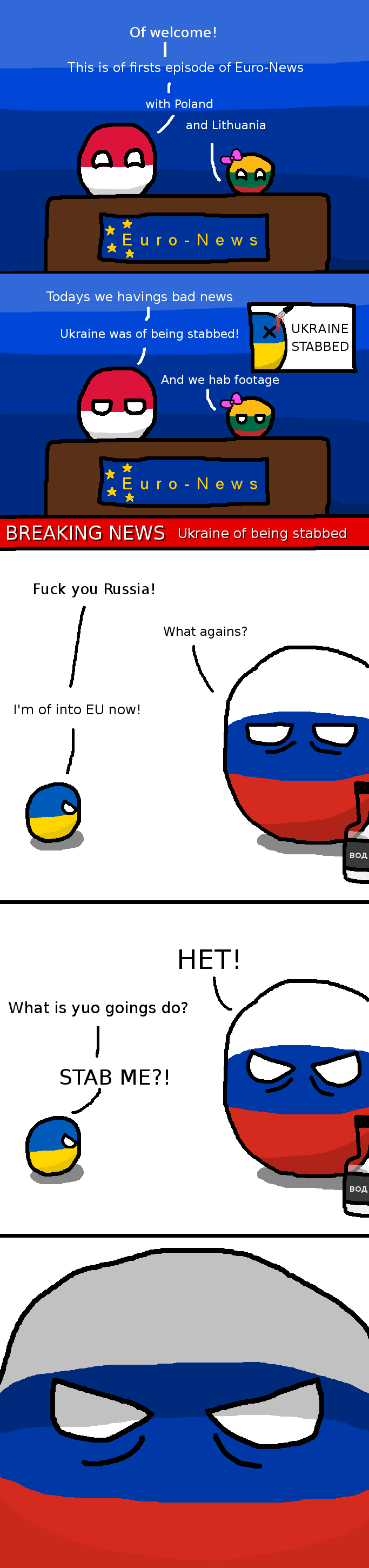 Euro-News - Stabbed Ukraine. My first OC and first polandball comic (I know it's a bit late and Ukraine crisis is going on for few months already, but what the