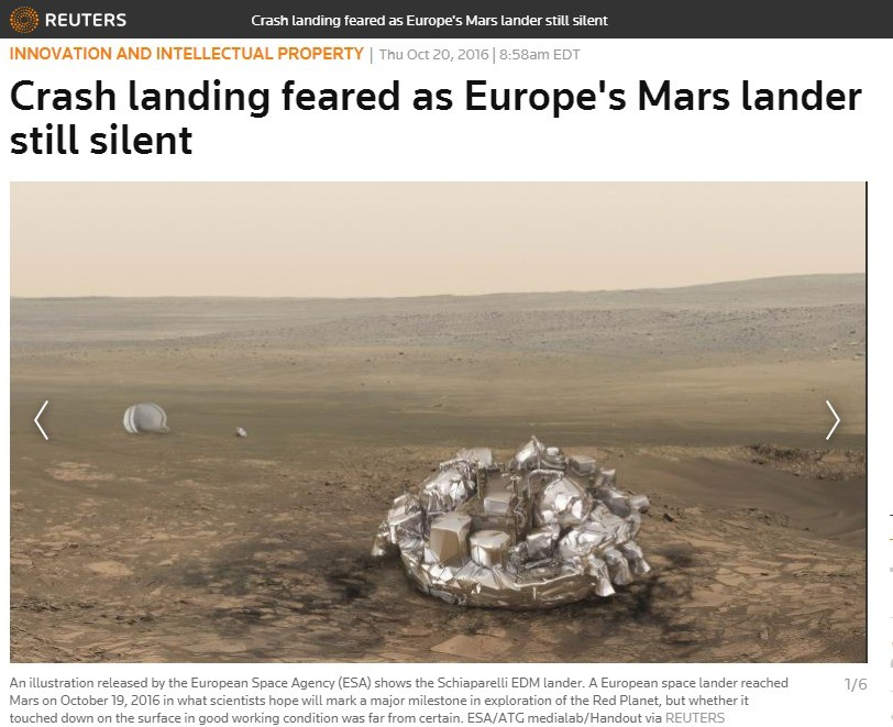 Europe can't into space. When will you Eurofags learn? Space belongs to America. . RELATE RS Crash landing feared as Europe' s Mars lander still silent ENID' U'