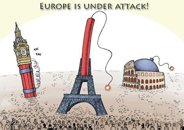 Europe is under attack!. .. Ok.... Not really sure what I'm suppose to say in response. It's like you're just posting a given statement without any kind of funny/witty/intelligent kind of