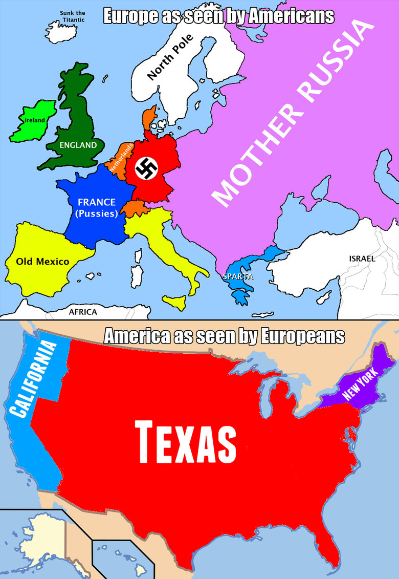 Europe vs USA. hi. FRANCE Old Mexico if AFRICA All LA Mt Iii. If. How britfat people see America