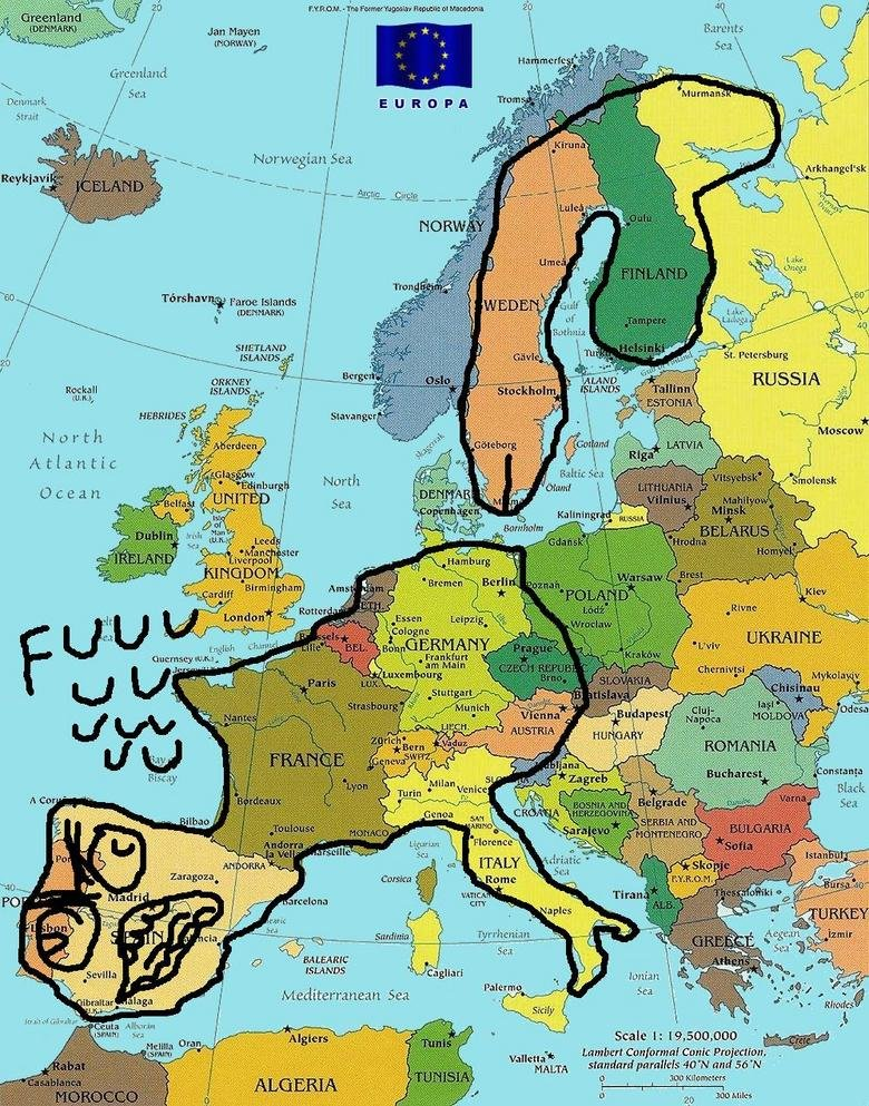 """Europe Rage. This is what I see when I look at a map now.... Barents Jan Hagen H """"WHY c bar H Sea Norwegian Sea I . iter, Lake Geog: Iso ? frame islands It ma S"""