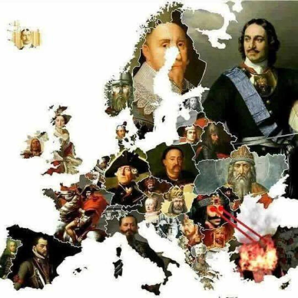 Europe's greatest Monarchs.. Sub and post in this new group i created for all the dankest history.. Vlad roasting the roaches