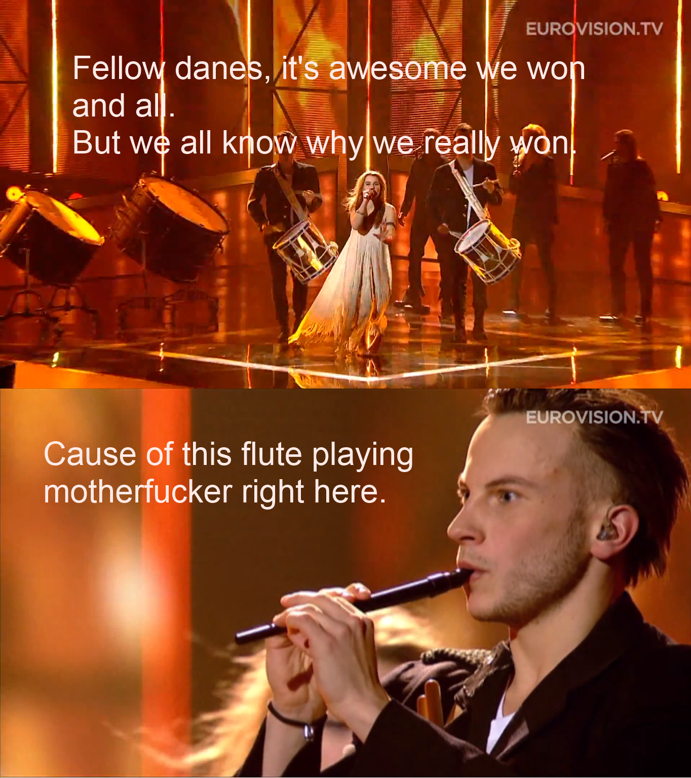 Eurovision 2013. Joke's aside it was an awesome contest and all of the other songs were great as well I am glad that Dk won, cannot lie. Here is link to the son
