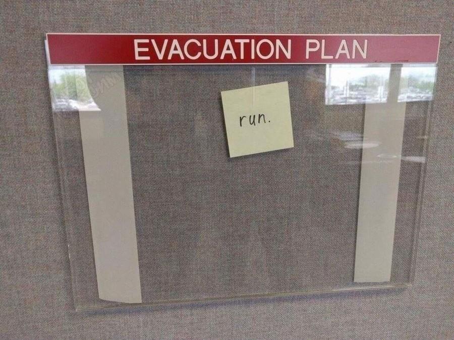 Evacuation plan. .. Solid plan.