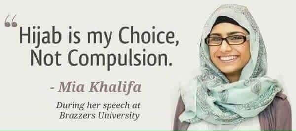 Evaignorui Hudangusol. . is my Choice, Not Compulsion. Mia Khalifa During her speech at Erasers University. Holy that's subtle, I almost didn't realize.