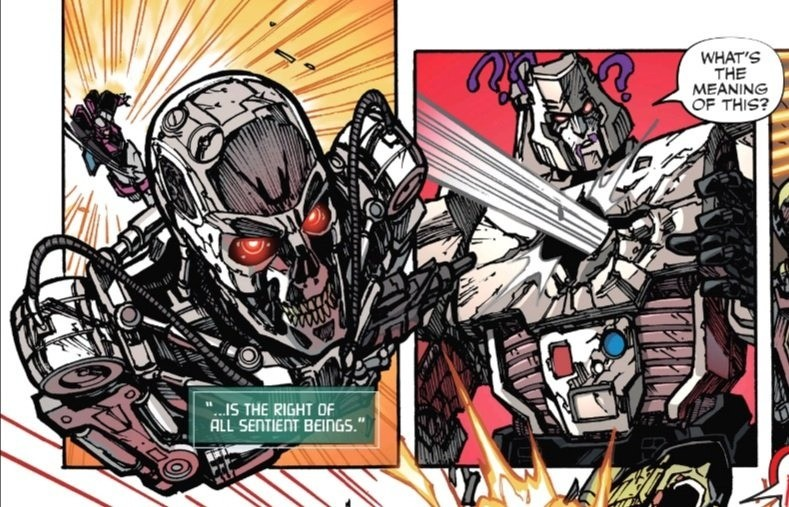 """evanescent imminent Lark. .. Google says it's """"Transformers vs Terminator"""" - a four part comic series that came out last year. It got a 6.8/10 rating out of 21 reviews, so take it"""
