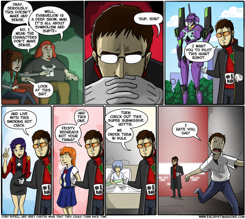 Evangelion in a nutshell. Yes.. WELL, A DEEP 'EIAD. HAM. IT' S! ALL AWN No, TD PILOT Rf. ribit
