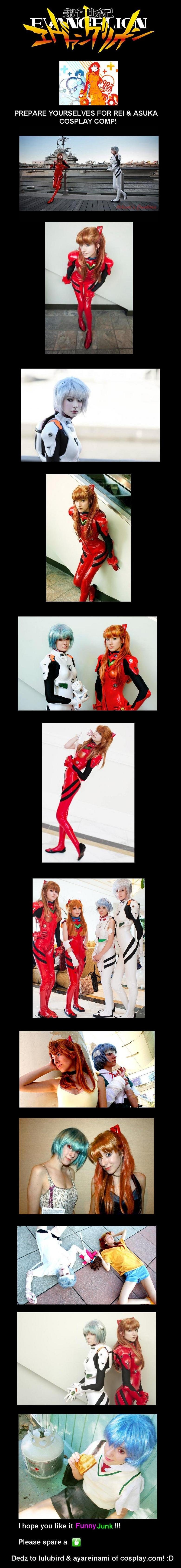Evangelion Cosplay COMP. Cosplay.com Profiles: lulubird: ayareinami: Youtube Video of ayareinami in her sister's plug suit: . PREPARE YOURSELVES FOR REI & ASUKA