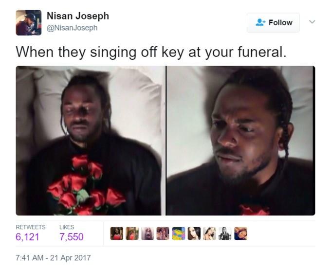 Evarmuirty Ytei Purn. . Nisan Joseph h F ll o ow When they singing off key at your funeral. 7: 41 AM - fill Apr 2( yla