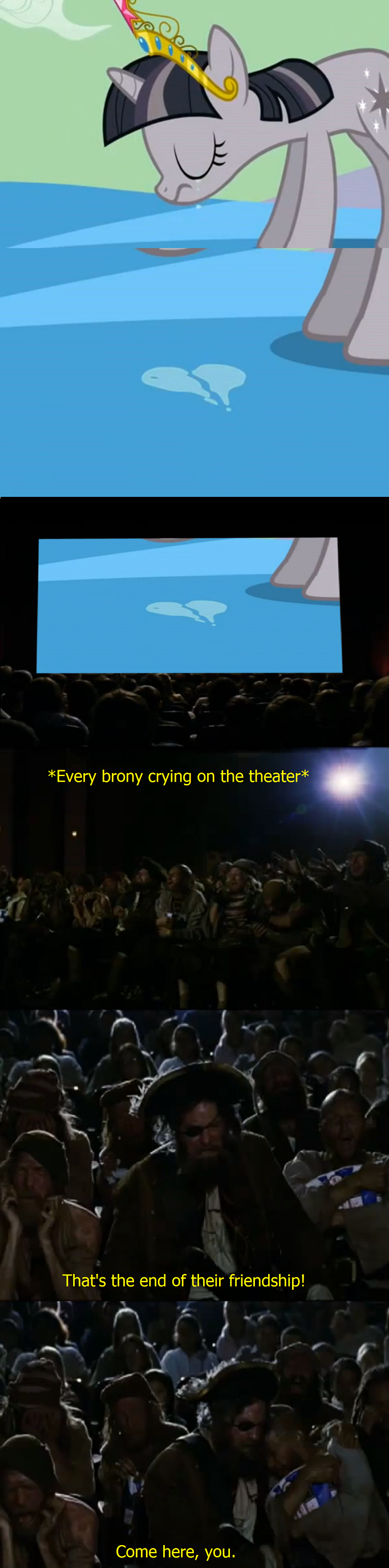 Every brony reaction to this scene. How touching.. i don't even like ponys, but i had to thumb for the spongbob movie referance cause i love that movie