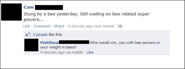 """Facebook (900). Stolen from my Cousins Facebook. Stung by a bee yesterday. Still waiting on bee related super powers- Like """" Share -in 2: 2 people like this, WE"""