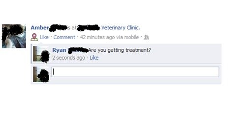 """Facebook (9000+). you, I thought it was funny. Am her"""" -s atg. Veterinary Unit. u Ryan ' ya: getting treatment? 2 secounds ago ' Like"""