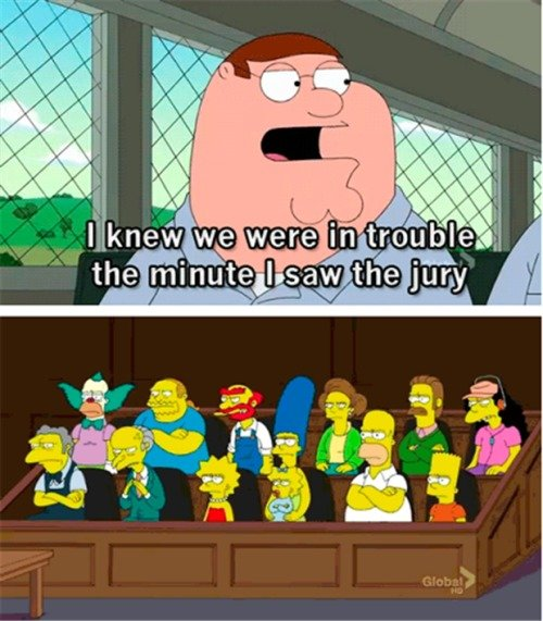 Fair trial. .. blabla Family Guy compared to Simpson someting
