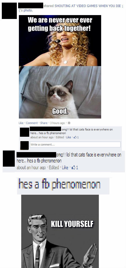 Fb Phenomenon. . s photo. I -shared SHOUTING AT ween: GAMES WHEN mu DIE; Like 'Cu: omment 'Share 3 hours any . © omg!! hill that cats face is everywhere an here