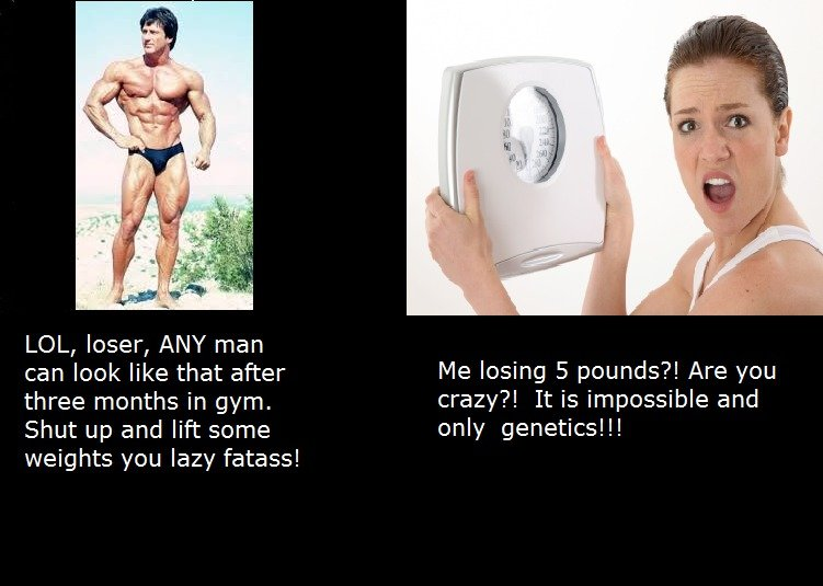 Female expectations. . LOL, loser, ANY man can leek like that after his losing 5 pounds?! Are you three months in gym, crazy?! It is impossible and Shut up and