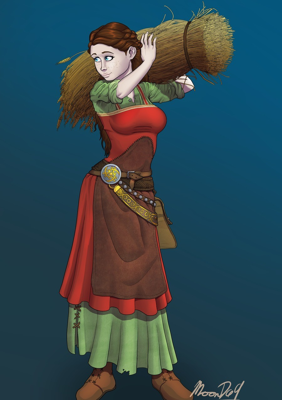 Female villager (Nanna). Another drawing I made for a character based of the the Norse god Nanna, the wife of baldur. I will probably make a good background lat