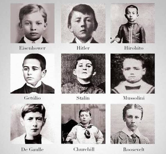 Figures of ww2 as children. .. Stalin looks like the type of playground bully who would pull wet willies if you don't give him the math and social studies homework