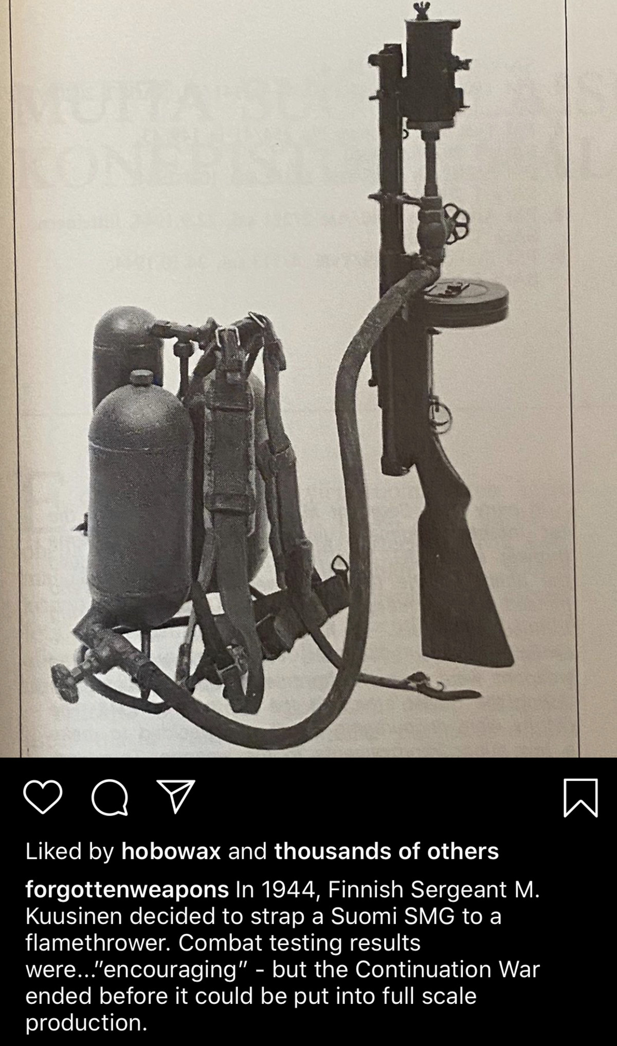 Finnish ingenuity. Shamelessly stolen from Forgottenweapons instagram page.. it makes enough sense, the flamethrower for roasting commies, and the SMG for toasting commies outside of roasting distance