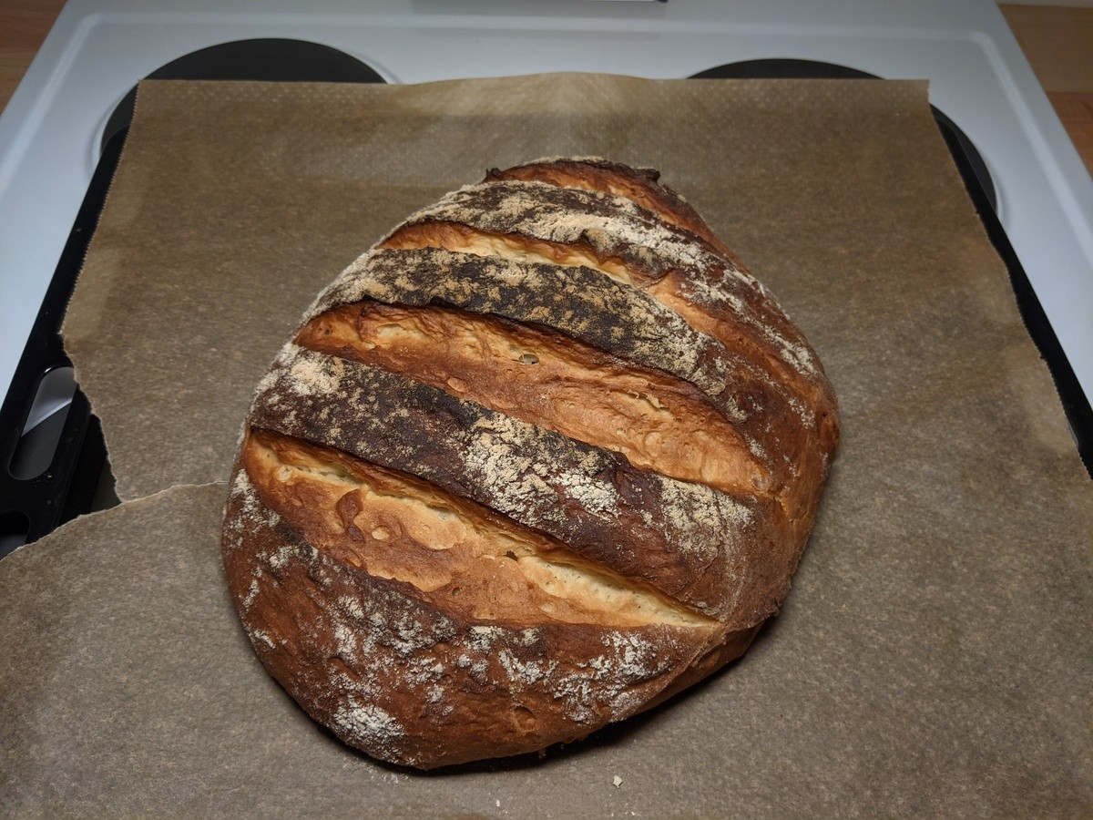 First attempt at making bread. .. thats's a nice looking bread it needs some butter and hagelslag