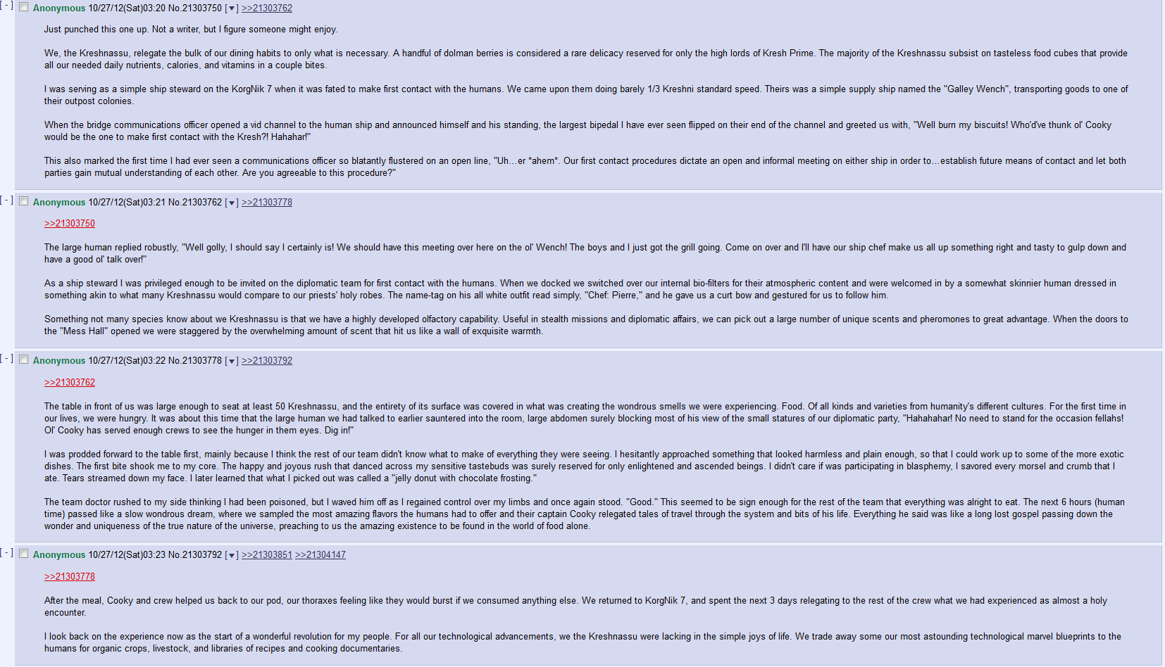 First Contact Feast. I found a lot of these stories in replies to comments on several posts anyway this channel hasn't seen much of an update in a while and I t