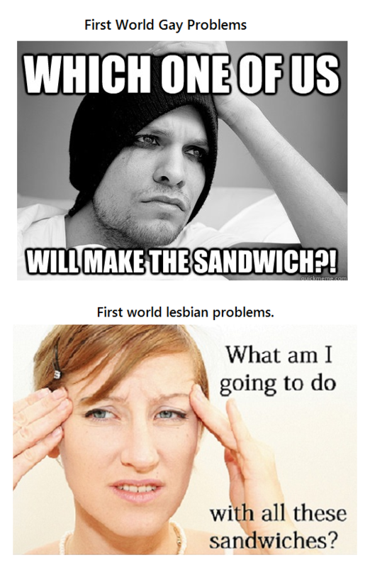 First world gay problems. . First World Gay Problems Grifin, fofr/ W' %. Lesbians don't make sandwiches. They just eat out.